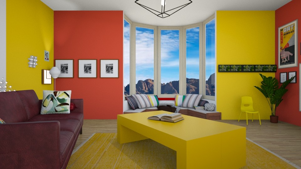 red and yellow - Living room - by jojoclik