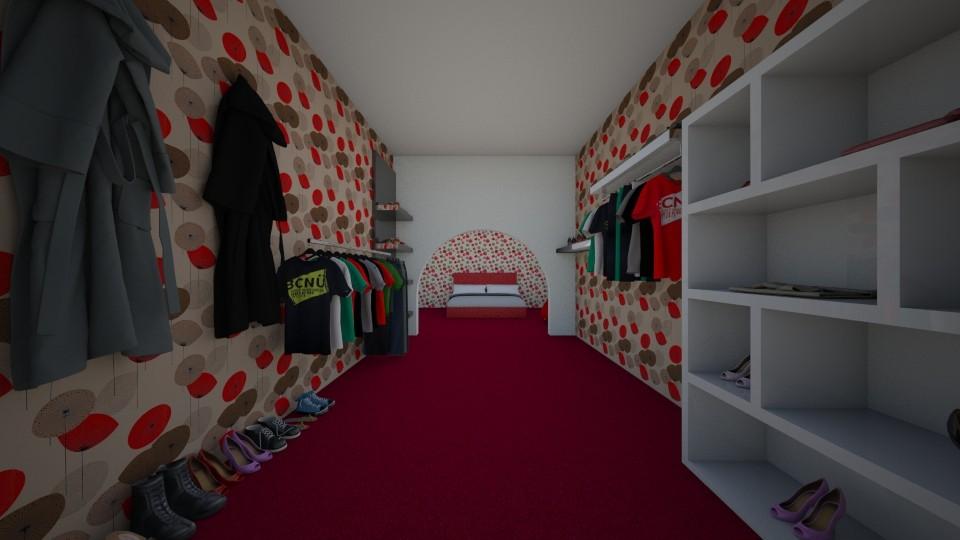 Red walk in wardrobe - Bedroom - by Itsjustme1