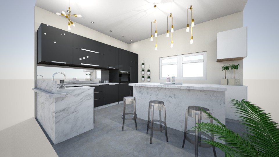 black and white kitchen - Modern - Kitchen - by Wikihomedecor