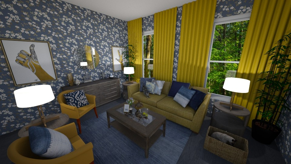 Grey Blue and Yellow - Living room - by PenAndPaper
