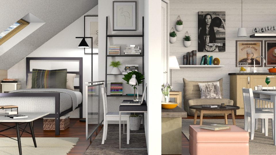 Apartment in the attic - Living room - by Sally Simpson