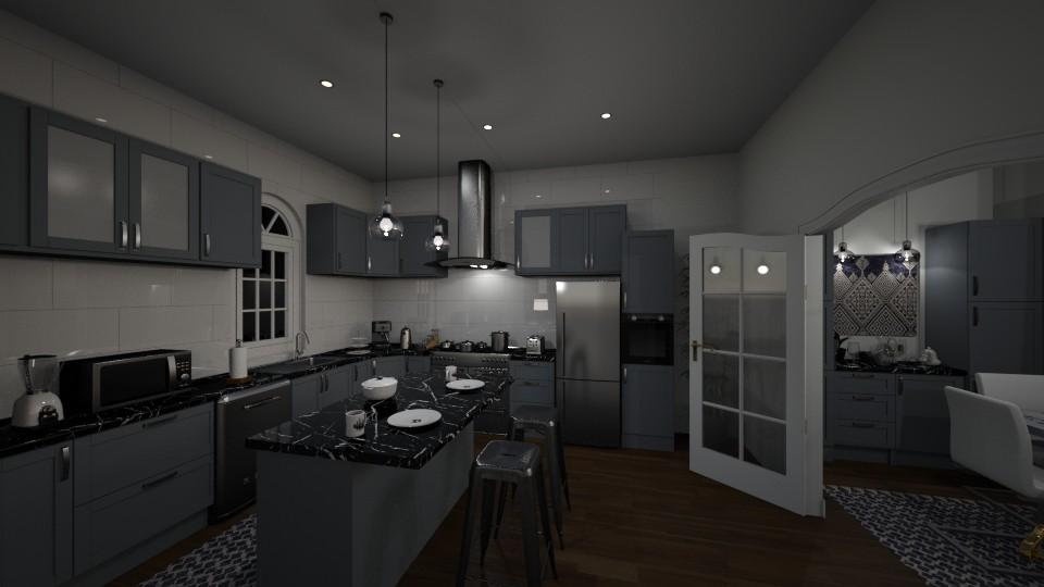 Dark Gray Kitchen - Kitchen - by Papaya Tree