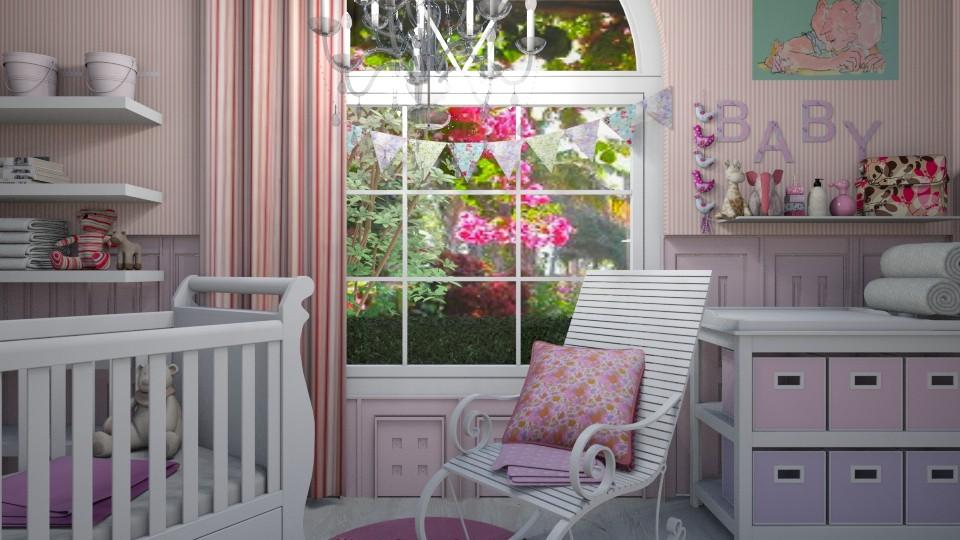 pink nursery - Feminine - Kids room - by donella