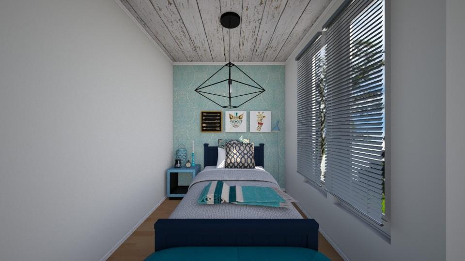 quarto vintange azul - Bedroom - by Tainaraa