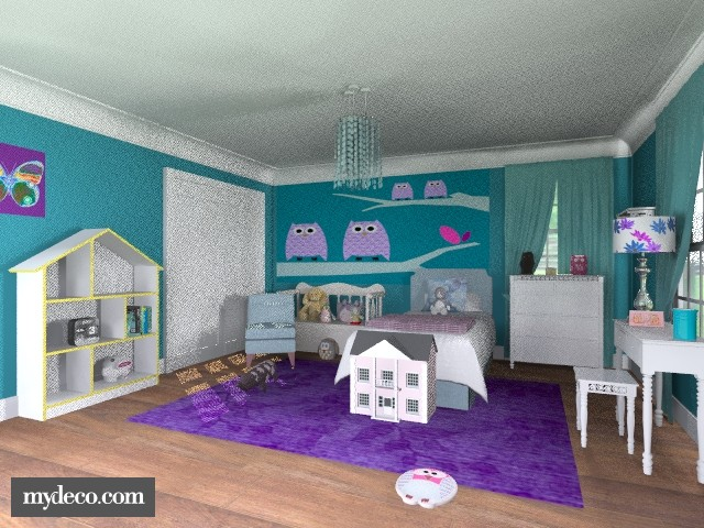 Little girl 39 s owl room modern bedroom by alleypea for 3 year old bedroom ideas