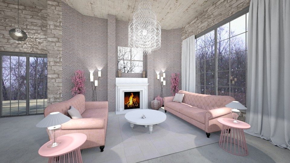 A Pink Living Area - Living room - by Sher02