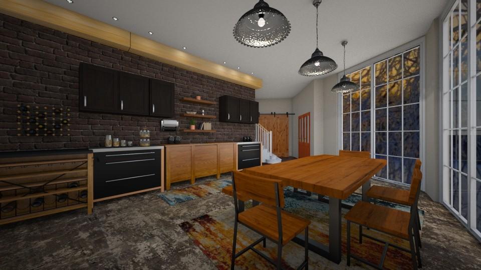 wood and black kitchen - by kla
