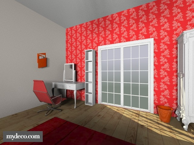 red and white bedroom - Bedroom - by chelsiemia