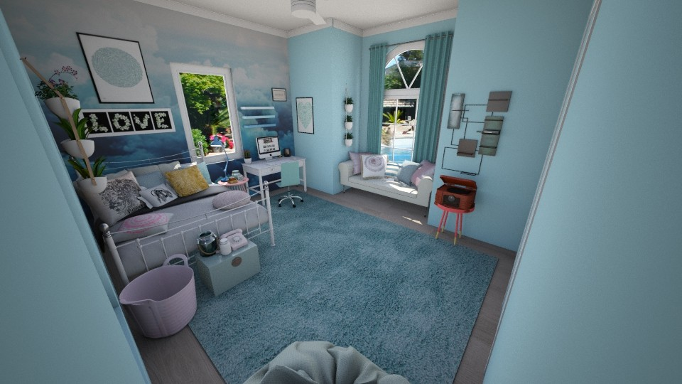 blue tumblr room - Bedroom - by Zoe_ty