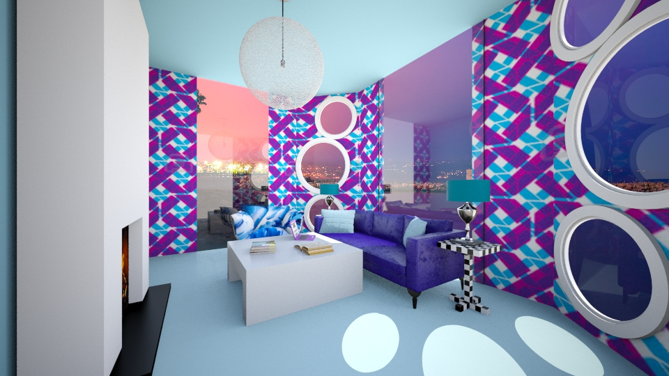 Blue and Purple Delight - Living room - by Oshee