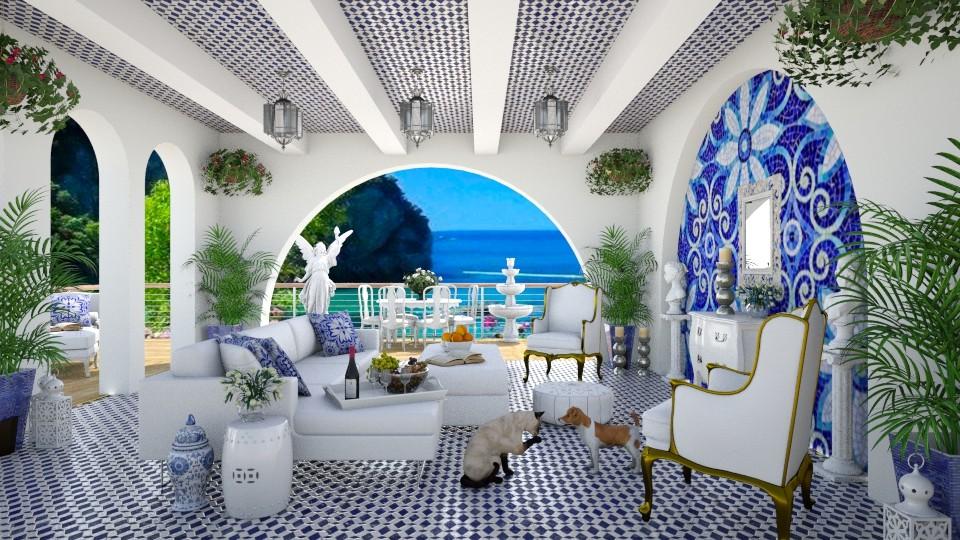 Greek Island Villa - Living room - by lydiaenderlebell
