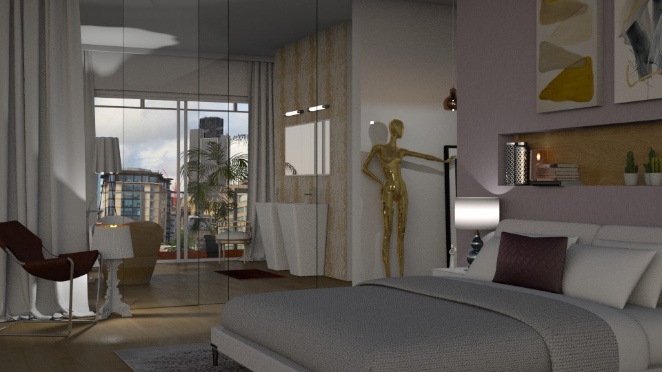 Bedroom Gold and Purple - Modern - Bedroom - by Annathea