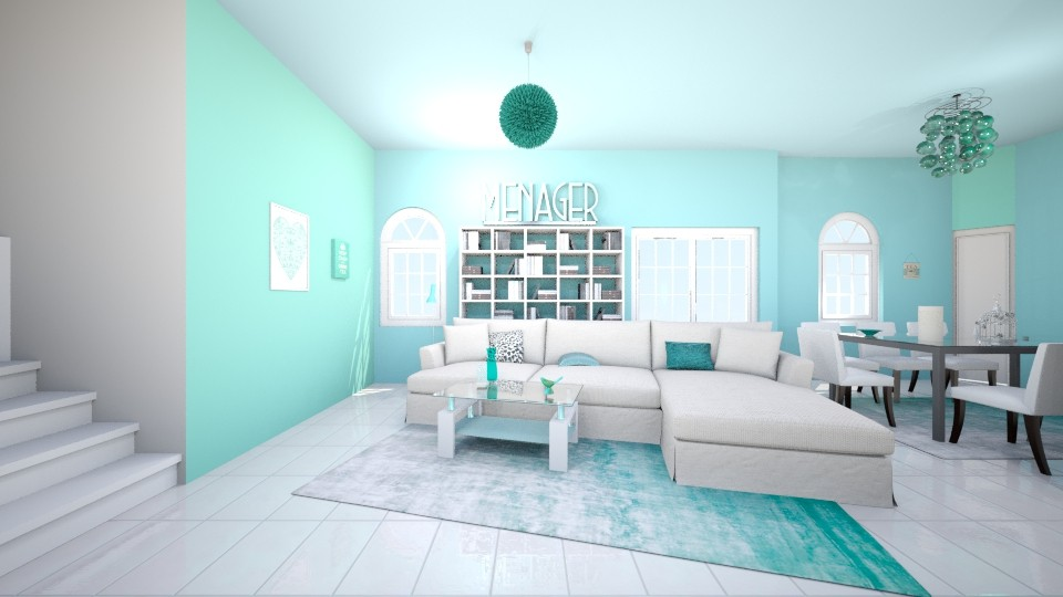 blue and white - Living room - by remani22