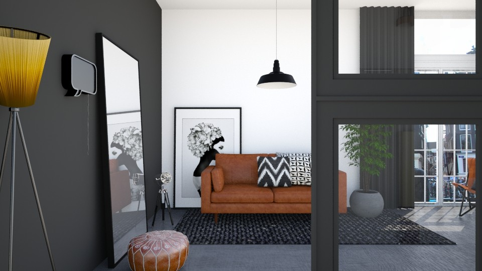 cognac elements living - Living room - by leenvandesande