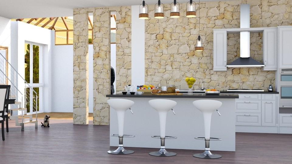 Kitchen with bar  - by gabyurbina