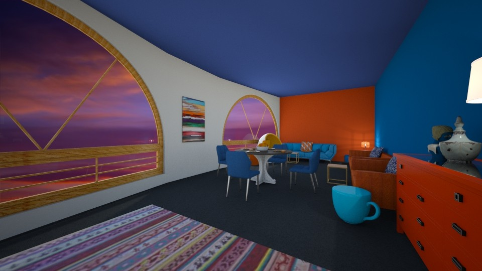 blue and orange  - Living room - by nicolaswiggins