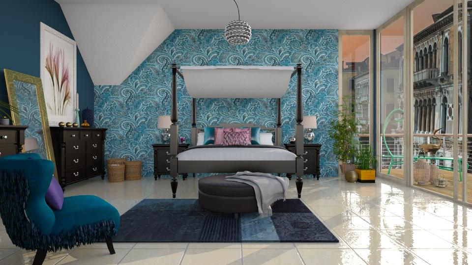 Paisley In Blue - Feminine - Bedroom - by janip