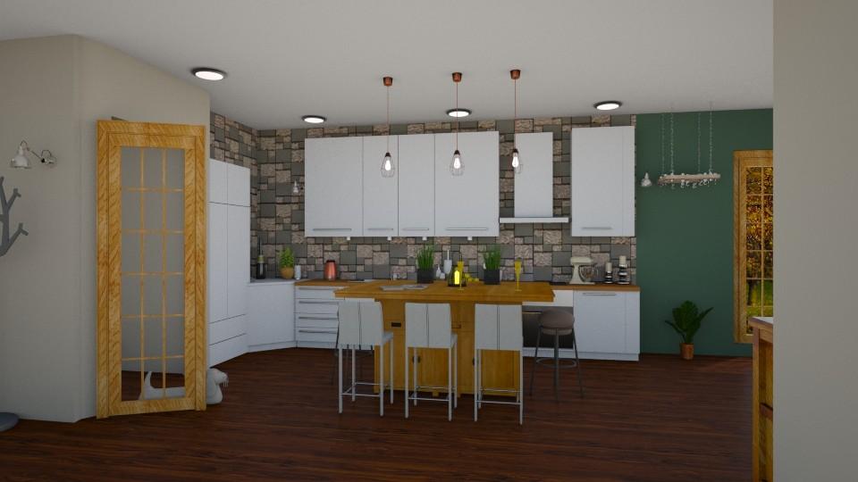 green kitchen - Kitchen - by jdenae3