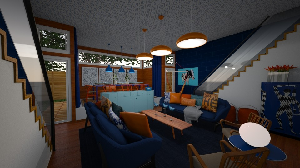 Orange Blue Mashup - Living room - by DecoMaster5