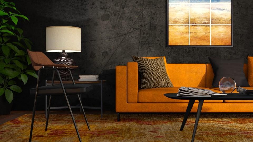 Orange and Black - Living room - by GraceKathryn