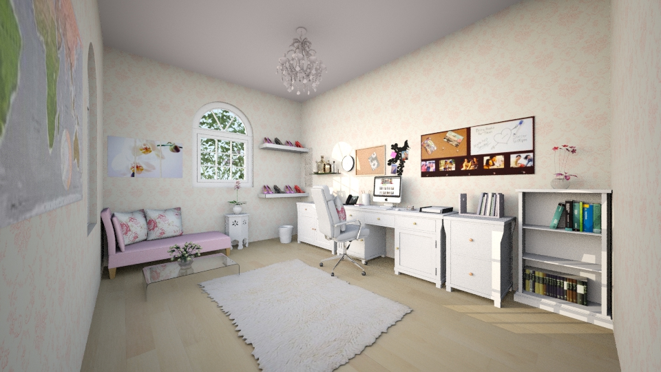 girly office space - Feminine - Office - by bec21