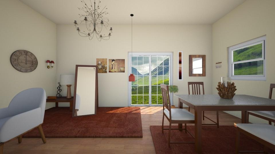 wooden red living room - Living room - by Kioko Arwyn