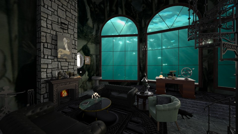 Slytherin Common Room - by Valerie Meiner