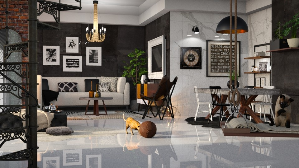 Black white and brown - Living room - by Just Bee