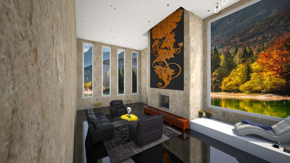 black and gold - Living room - by Emiley B
