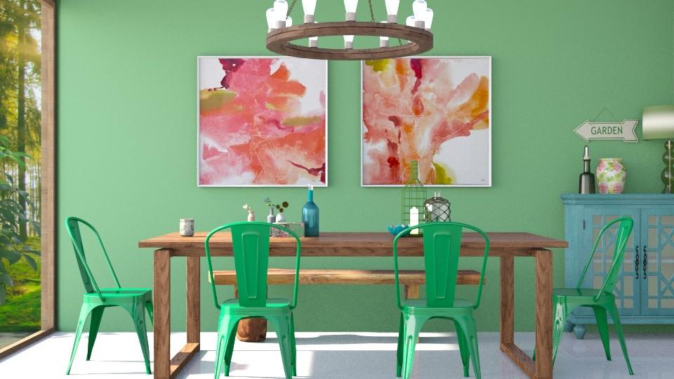 spring green - Dining room - by jagwas