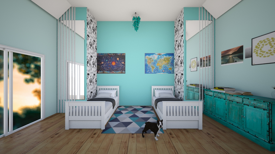 Turquoise Double Bedroom - Bedroom - by Sunny Bunny