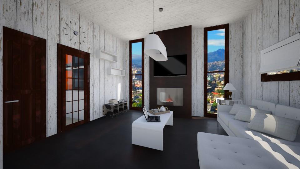 White n wood living room - Modern - Living room - by LoukArt