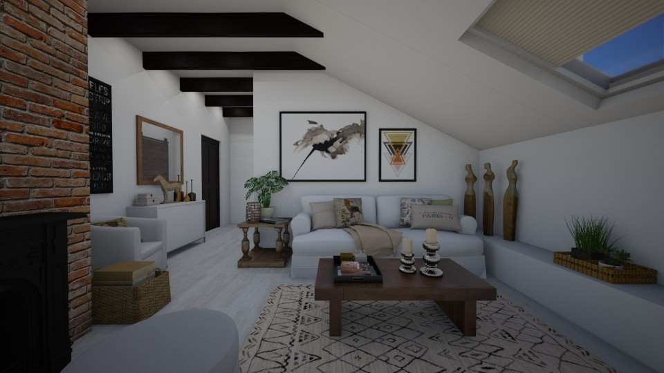 Sloping ceiling - Living room - by Tuija