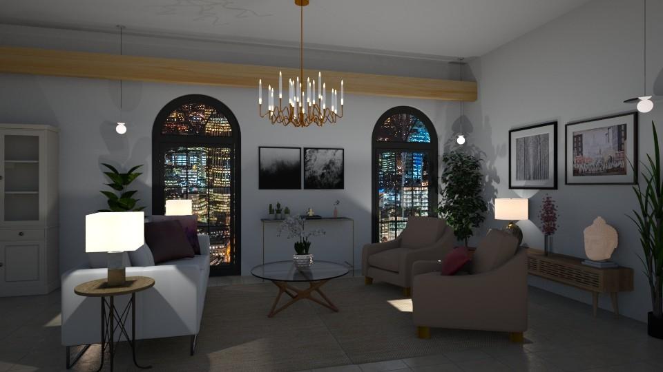 Modern meets pink eclecti - Modern - Living room - by Elya Vovak