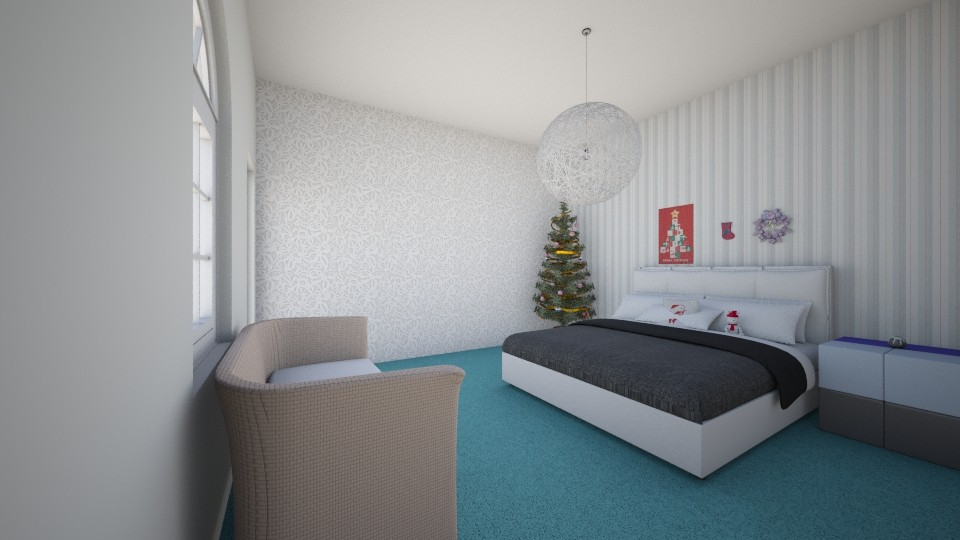 Christmas theme bedroom - Bedroom - by bluedolphin12