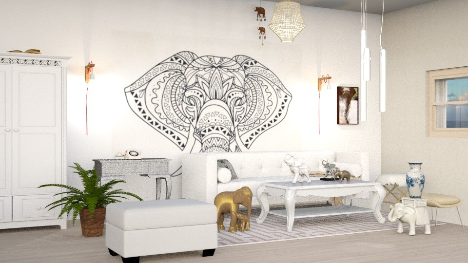 Elephant  - Living room - by elephant in savanna