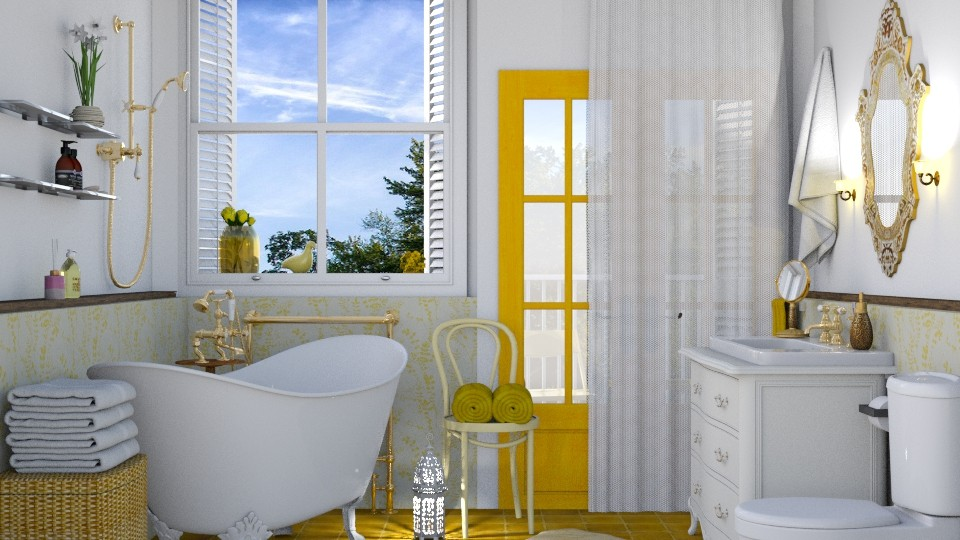 yellow bathroom - by elyssaumber
