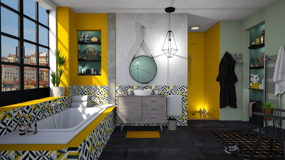 Yellow Bathroom - Bathroom - by Mandine
