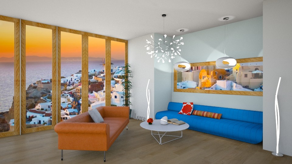 blue and orange - Living room - by avawrightthewrightone
