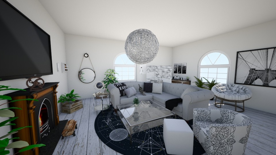grey theme living room by koskchri