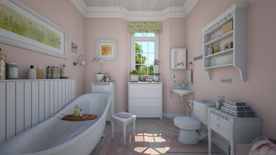 Pink Bathing - Bathroom - by Violetta V