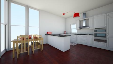 red modern wood - Kitchen - by Cora_da_B0ss