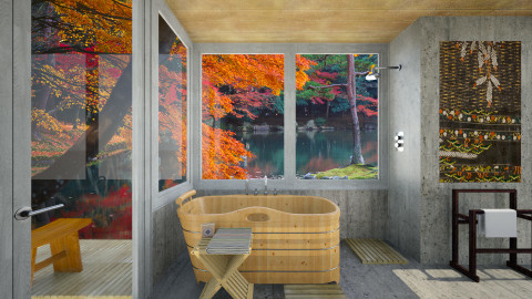 Shibori Bath - Rustic - Bathroom - by russ