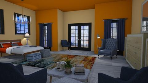 Orange and Navy - Rustic - Bedroom - by millerfam
