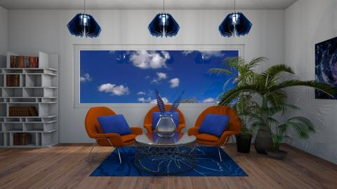 Orange blue - Living room - by marysiawiszniowska