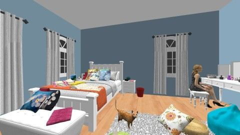 Happy and Blue - Retro - Bedroom - by keteya weatherall