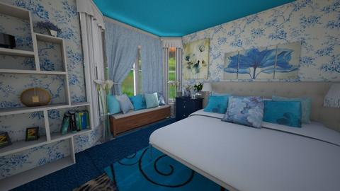 Blue Floral Dream - Bedroom - by lilly_mist