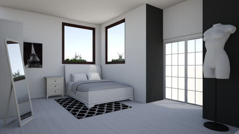 black white room - Feminine - Bedroom - by agatunia12