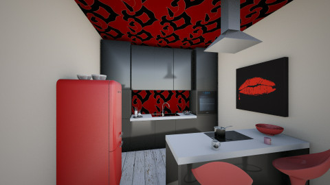 red - Kitchen - by Sliema123