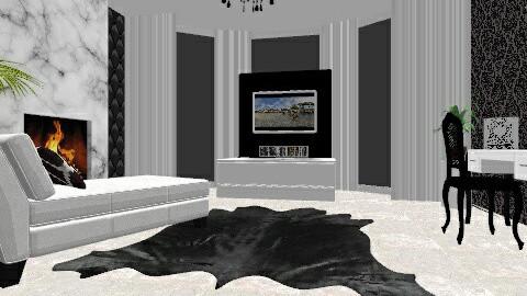 Black and White Master Ba - Glamour - Bathroom - by AshleyLabxtchh